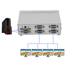 4 Port SVGA VGA Splitter 250MHz 1 PC to 4 LCD CRT Video Monitor For PC Projector