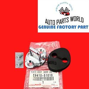 GENUINE OEM LEXUS IS300 LS430 SC430 DOOR LOCK STRIKER PLATE W/COVER & SCREWS KIT