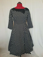 Black Polka Dot Rockabilly Vintage 50s Swing Sleeved Dress with Bow Size 8