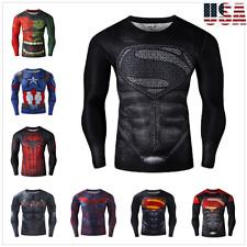 Men T-Shirt Compression Tops Superhero Super man Muscle Fitness Long Sleeve Tee