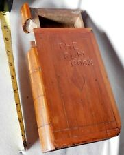 Antique American carved spruce gum box 19th c. Bible Book decorated maple cherry