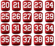 #20-39 Number Sweatband Wristband Lacrosse Softball Volleyball Red White