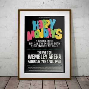 Happy Mondays Wembley 1990 Print Poster Framed or Three Print Options EXCLUSIVE