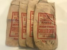 4 National Lead Co. St Louis Lawrence Brand Chilled Lead Shot Bags 25 lbs