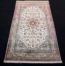 Orient Teppich Seide 128 x 77 cm Seidenteppich Perserteppich Beige Silk Carpet