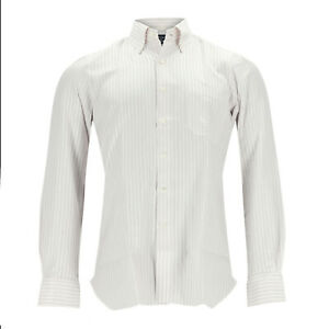 Finamore Shirt Men White/Burgundy Striped Cotton Size 40 (Previously