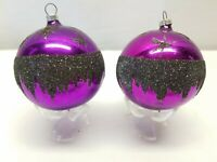 Vintage German Glass Christmas Tree Ornaments Bauble Ball Black Purple Mica Star