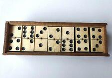 Antique Domino 19C bone and dark ebony game in wooden box 28 pieces