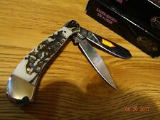 """3.375"""" CLOSED STEEL WARRIOR POCKET KNIFE WITH A BONE STAG HANDLE & 440 GERMAN S."""