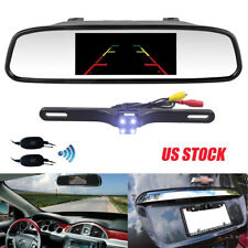 "4.3"" Car Rear View Mirror Monitor Night Vision Backup Camera KIT Wireless System"