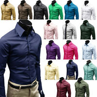 Luxury Mens Formal Business Suits Long Sleeve Shirts Tops Candy 17 Colors 3XL UK