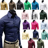 Mens Long Sleeve Slim Dress Shirt Business Formal Regular Fit Casual Tops