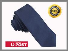 Deep Blue New Slim Solid Mens silk Tie groom wedding skinny Necktie