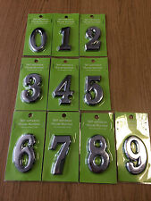 HOUSE NUMBER DIGITS SILVER CHROME STICK ON SELF ADHESIVE 1 2 3 4 5 6 7 8 9 0