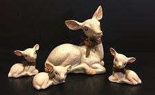 Vintage Ceramic Deer Fawn Baby Doe Family Figurine Ribbon Dried Flowers