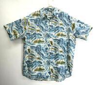 Roundtree & Yourke Men's Large 100% Silk Short Sleeve Caribbean Hawaiian Shirt