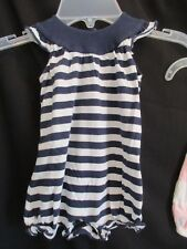 Baby Girl Ralph Lauren Romper One Piece Navy Sleeveless Spring Summer Size 9M