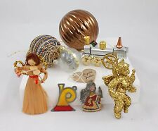 Vintage Gold Angels Balls Train Christmas Ornament Holiday Decoration Lot