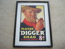 "C1930S PLAYER'S ""DIGGER"" SHAG ALL EMPIRE TOBACCO 8D PER OZ ADVERTISING SHOWCARD"