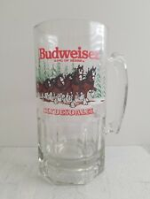Budweiser Clydesdale Christmas 1989 Clear Glass Beer Mug Holiday Stein EUC