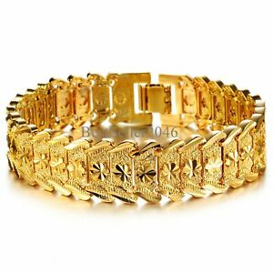 "Mens 18K Gold Plated Link Bracelet Classic Carving Wrist Chain Link Bangle 8.26"""