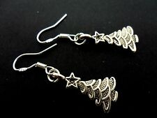 A PAIR DANGLY CHRISTMAS TREE  EARRINGS WITH 925 SOLID SILVER HOOKS. NEW..