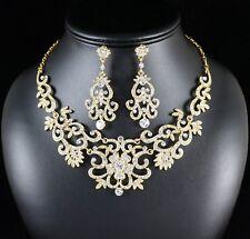 Gorgeous Clear Rhinestone Crystal Bib Necklace Earring Set Bridal Prom Gold N89g