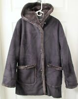 JONES NEW YORK Women's Jacket (S) Brown Faux Suede with Sherpa Lining - Hooded