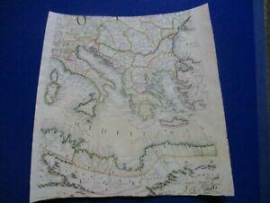 Antique 1696 globe gore map, Italy, Africa, Greece, Turkey, Vincenzo Coronelli