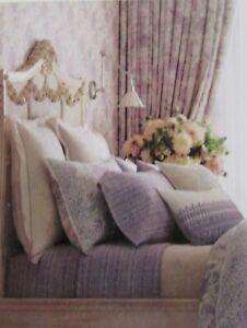 Ralph Lauren ALESSANDRA Purple Trim Linen Blend European Shams Set 2 NIB