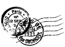Tampon en bois Cachet postal France Paris Voyage 1921 vintage 5,5cm