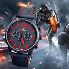 Men Military Stainless Steel Sport Racing Watch Quartz Analog WristWatch Red GA