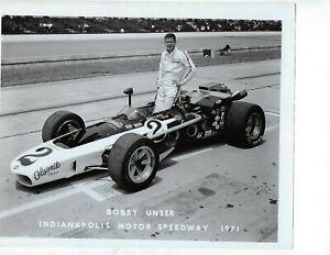 Bobby Unser 1971 Indianapolis Motor Speedway 8x10 Promo Photo
