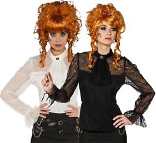 Ladies Deluxe Lace Steampunk Cosplay Quality Fancy Dress Costume Outfit Blouse