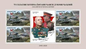Tajikistan Military Stamps 2020 MNH WWII WW2 Battle of Berlin Tanks Zhukov 4v MS