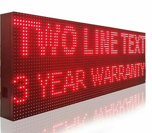 """BRIGHT RED COLOR DIGITAL 15"""" X 63"""" PROGRAMMABLE LED SIGNS"""