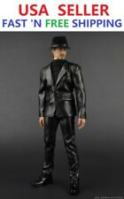 1/6 scale Black Leather Jacket Suit Set For Hot Toys PHICEN 12'' Male Figure