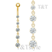 TT 14K Gold GP CZ Long Dazzling Dangle Belly Bar Ring (BL155)