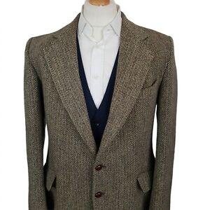 Harris Tweed Mens Blazer Jacket Green Size 44L Wool Herringbone Double Vent