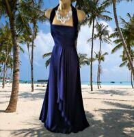 COAST  STUNNING NAVY  BLUE HALTER NECK  MAXI EVENING/CRUISE  DRESS SIZE 12  VGC