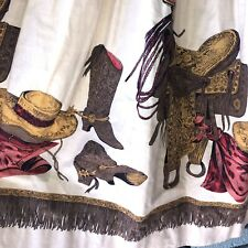 Vintage 1950'S Western Cowboy Novelty Print Cotton Rockabilly Skirt - W 26