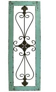 Large Turquoise Framed Metal Wall Decor *Art * Metal Scroll * Wooden Frame *