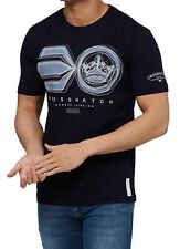 Crosshatch Camiseta Hombre Ruffneck Símbolo Estampada Manga Corta Blanca Azul