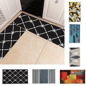 2PCS/Set Non Slip Door Mats Hallway Runner Bathroom Rug Kitchen Carpet Floor Mat