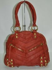Linea Pelle Red Genuine Leather Zip Dome Satchel Bag