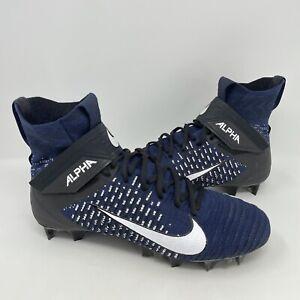 Nike Alpha Menace Elite 2 Flyknit Football Cleats Blue AO3374-403 Mens Size 10.5