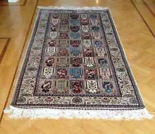 "Turkish Colorful Silk Carpet Rug Wall Drapery Hand Made in Turkey 43"" x 93"""