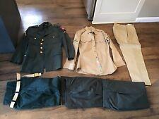 Vietnam Era US Army 82nd Airborne Uniform Lot Dress & Khaki Shirt Coat Pants