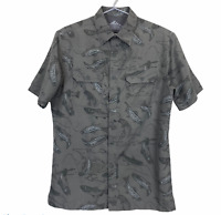 Croft & Barrow Mens Khaki Fish Short Sleeve Button Up Quick Dry Shirt Size S
