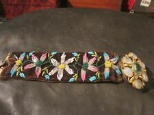 Fab Georgian Rare Velvet Hand Embroided Bead Floral Cuff Bracelet & Orig Clasp